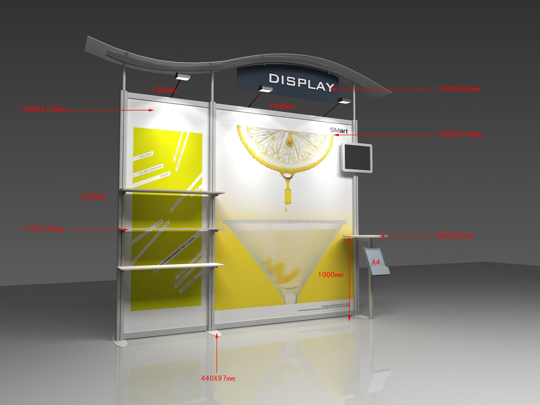 Portable Exhibition Display : Aluminum portable exhibition wall display trade show booth stand