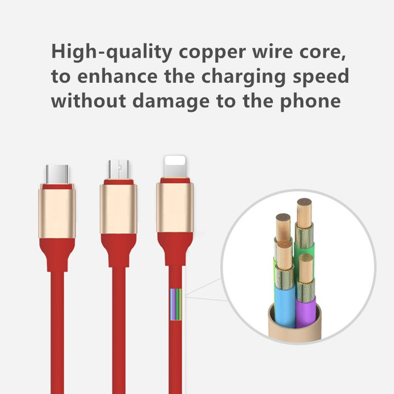 3 in 1 Charger/Sync USB Data Cable for Mobile Phone