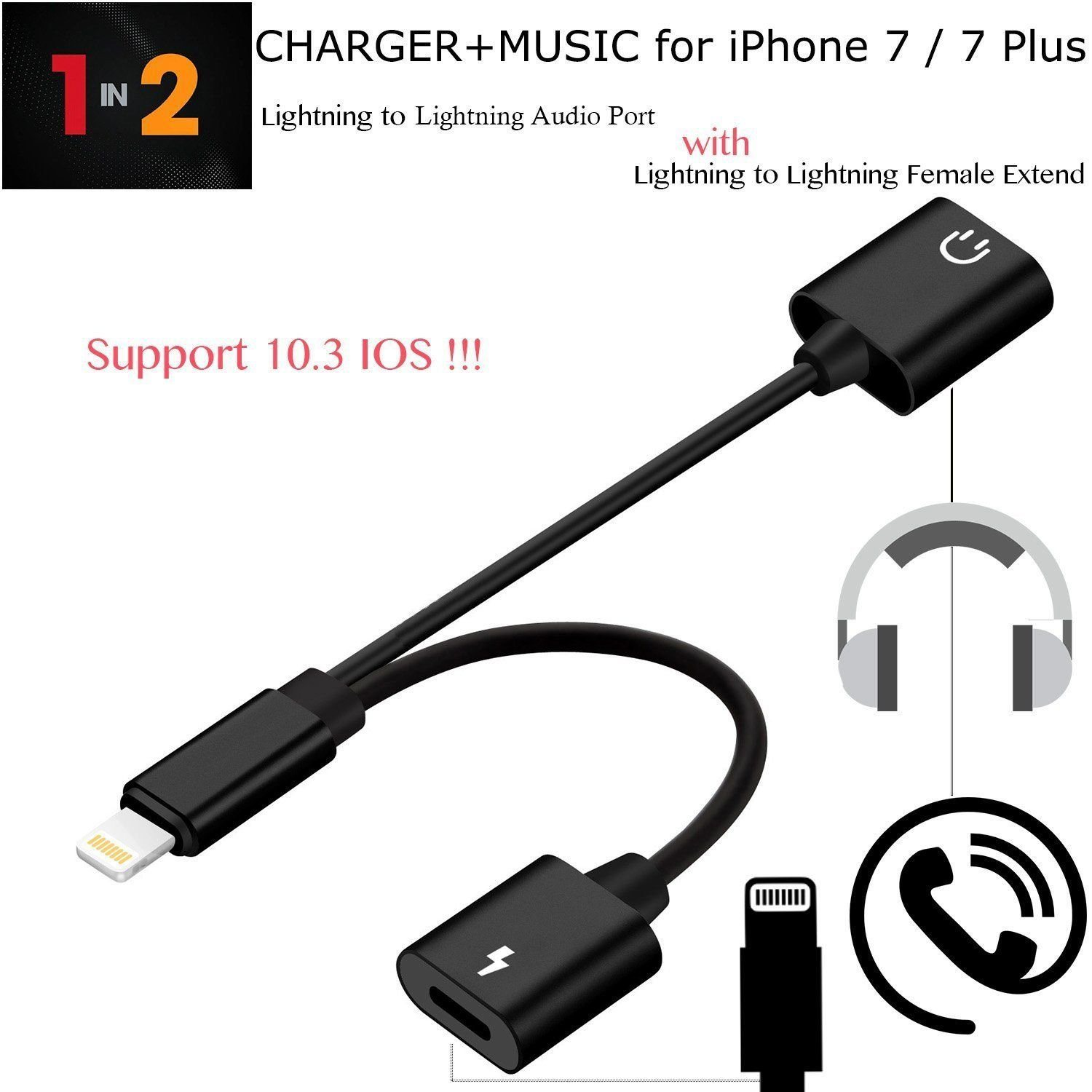 Double Socket Lightning Sync Charging Audio Adapter Cable for iPhone7