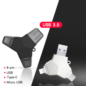 Y Shape Three Port Type-C OTG USB Flash Drive for IPhone USB Flash Disk for Android IPod