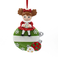Christmas Ball With Girl Ornament Personalized Christmas Tree Ornament