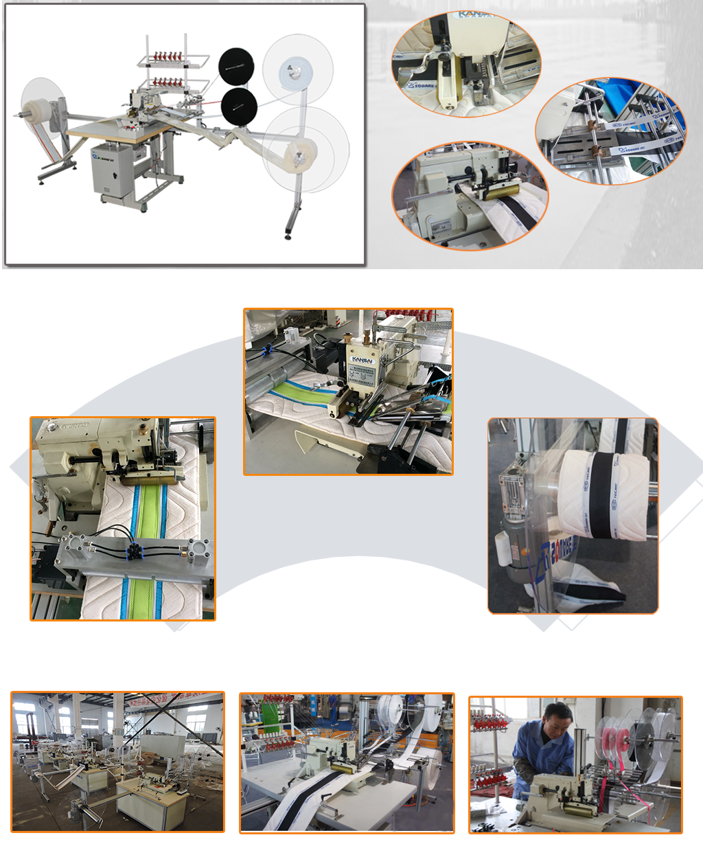CTF4 mattress decorative ribbon machine details