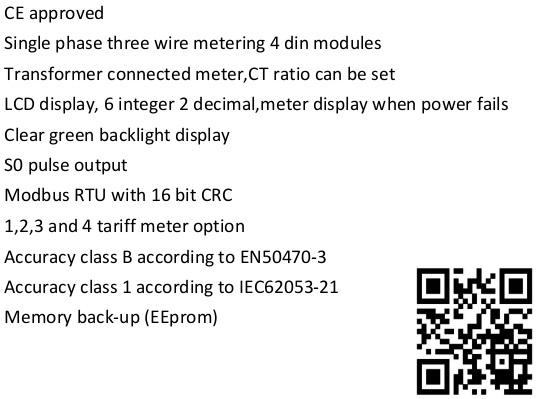 EM427 CT 120/240V 1 5(6)A single phase three wire digital
