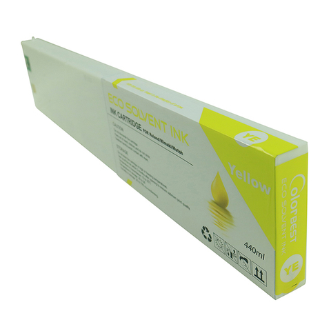 Color Yellow 440ml Roland DX7 Inkjet Printer XF-640 Eco Solvent Ink Cartridge