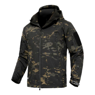 Military Dark Camouflage Softshell Jacket with Shark Pattern