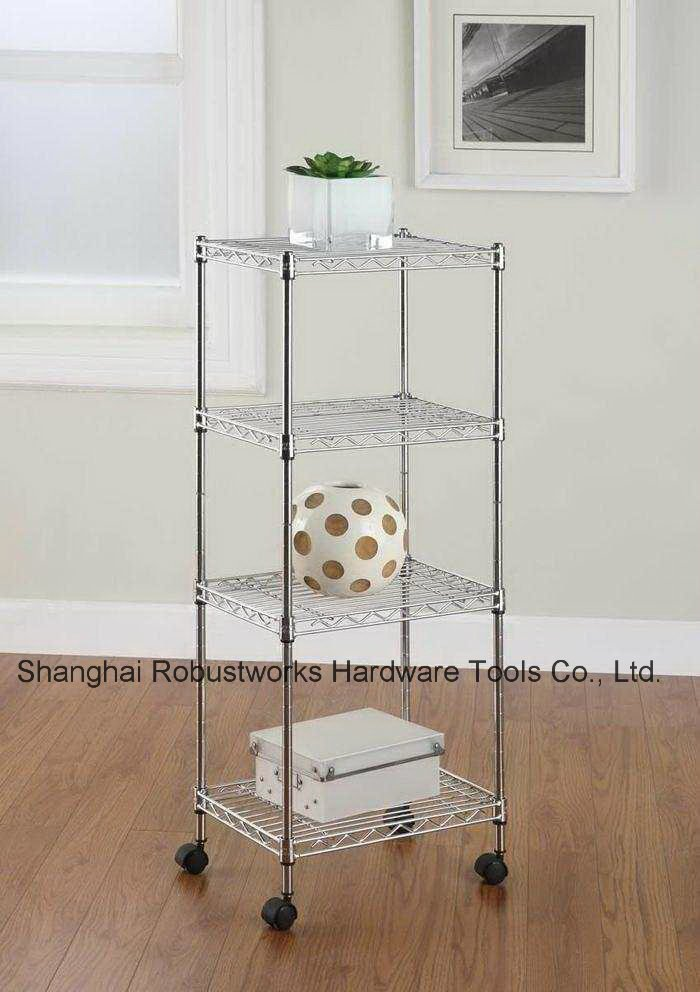 Four Tiers Chrome Plated Home Use Wheeled Wire Shelf (4545170)
