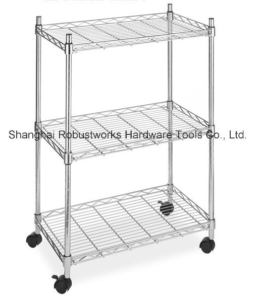 3 Tiers Chrome Plated Home Use Wheeled Wire Shelf (356083)