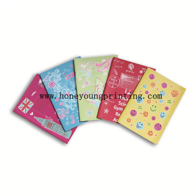 Water proof coated silk printing staple binding ruled student exercise book