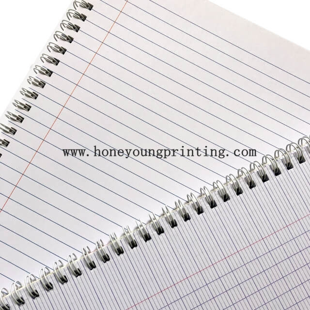 Soft cover double spiral notebook assorted designs 8mm single line with red margin A4 size for student