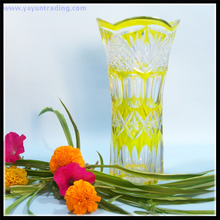 best selling Japanese Edo Kiriko yellow glass flower vase