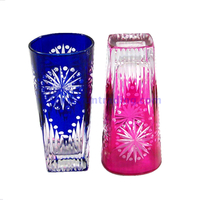 customized fireworks pattern and red color glass water cup