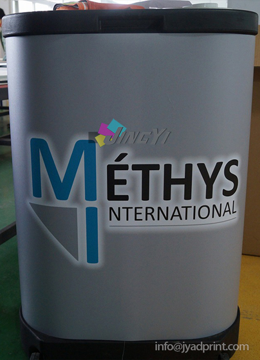 High Quality Plastic Wheel Table Stand Podium Display Case With Full Color Printing your Design