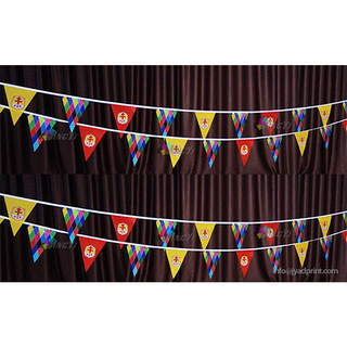 Custom Bunting Triangle Flag Printing Polyester Fabric Trilateral/Triangular String Pennant Flags