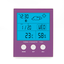 Backlight Indoor Thermo-Hygrometer Clock TH832