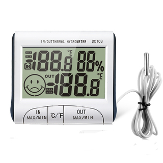 INDOOR/OUTDOOR HYGRO-THERMOMETER CLOCK DC103