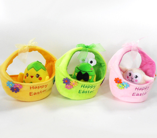 Plush Easter Animals Chicken Frog Sheep Toys in Basket