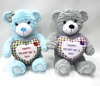Custom Colorful Valentine Day Beautiful Plush Teddy Bear with Heart