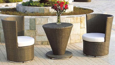Garden Outdoor Furniture Rattan Swivel Chair with Coffee Table