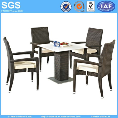 High Quality Modern Design Outdoor Restaurant Furniture Quartz Stone Table and Rattan Chair