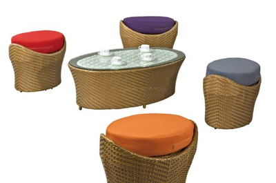 Rattan Ottoman with Coffee Table Garden Furniture