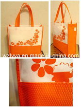 Non Woven Bag White and Orange Fabric (LYN61)