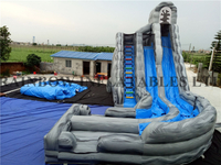 RB6084(5.5x8m)Inflatable Grey Water Slide with Swerved Slide Pool