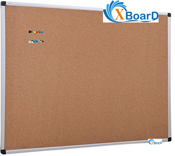 XBoard Aluminum Frame Wall Mounted 48 X 36 Inch Cork Board Tack Board With  10 Colorful Push Pins For Display And Organization