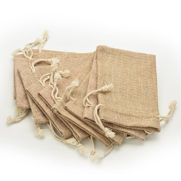 Wedding Mini Burlap Pouch Sack Drawstring Tie Bag