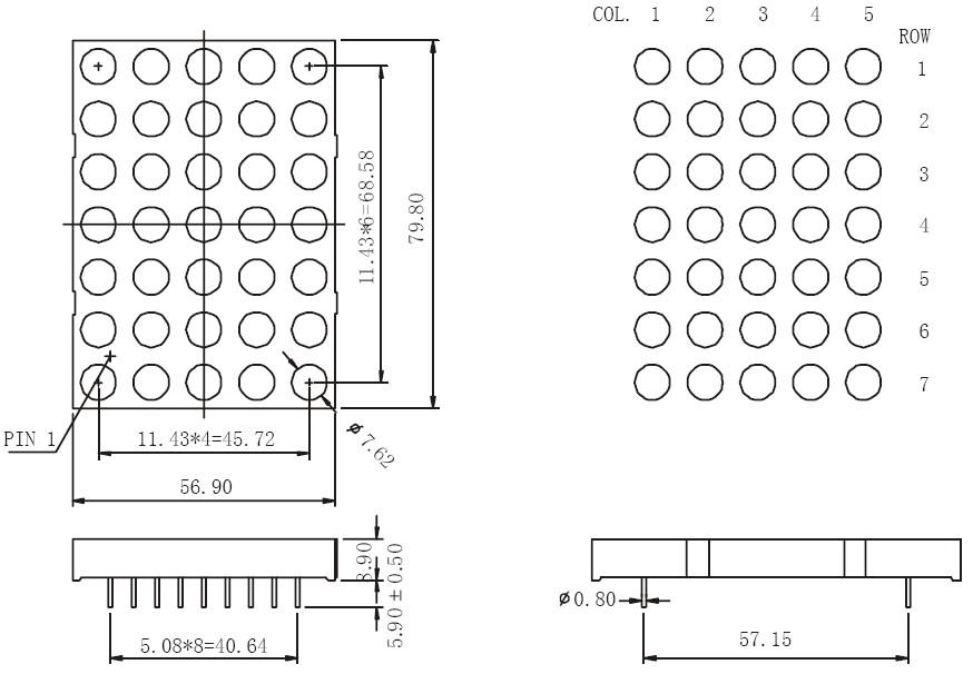 3 inch 5x7 dual color dot matrix led display datasheet
