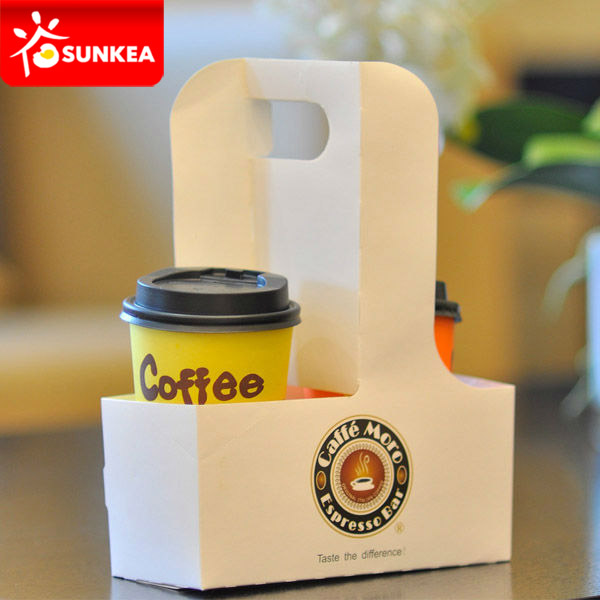Disposable Logo Printed Paper Coffee Cup Carrier With
