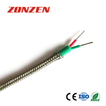 Silicone rubber insulated thermocouple extension wire with stainless steel overbraid--Single pair, round