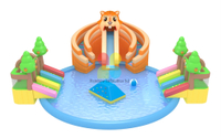 Giant Squirrel Theme Commercial Inflatable Ground Water Park Slide With Pool For Sale