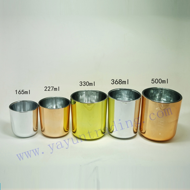 electroplated glass candle holder and jar
