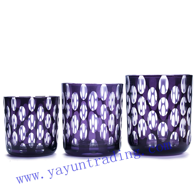 hand etched purple glass candle jar