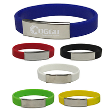 Metal clip silicone bracelets with laser logo