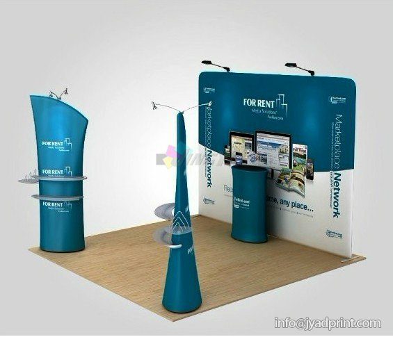 Tension Fabric Twoder Display, Ez-Tube Stretch Polyester Graphic 3D Shaped Display Banner Tower Stand