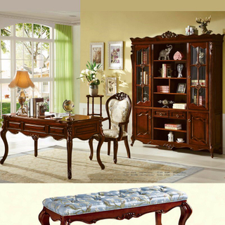 Executive Table with Wood Bookcase for Home Office Furniture