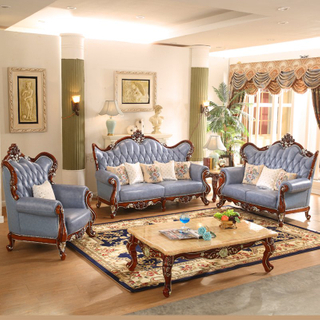 530 Wood Leather Sofa Set for Living Room Furniture
