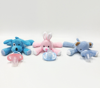 Infant Stuffed Animal Dog Rabbit Bear Pacifier Holder Soft Toys