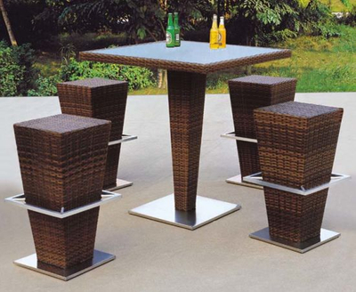 Modern Design Rattan Bar Table and Stool for Outdoor Furniture