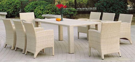 White Rattan Dining Chairs and Table Garden Dining Set Outdoor Furniture