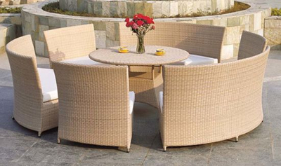Garden Dining Set Round Chair and Table Wicker Furniture