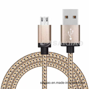 USB2.0 Spun Gold Braided Charging Data Cable for iPhone