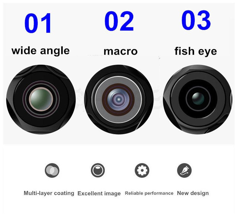 3 in 1 Chip Macro+Fish Eye+Wide Angle Mobile Phone Camera Lens