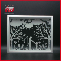Glass Decoration Square Glass Frame Paper Cutting Design Glass Crafts Wholesale Decoration