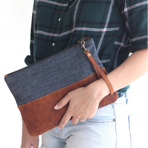Leather Wristlet Clutch,Denim Purse,Jean purse