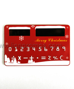 Christmas Promotional Git Card Shape Solar Power 8digits Pocket Calculator