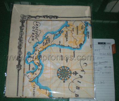 Tourist Souvenir Caribbean Sea Map Printig Cotton Bandanas