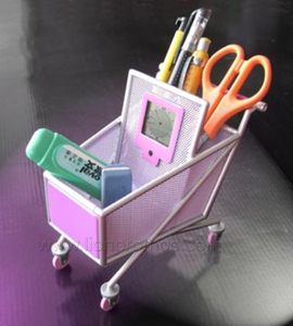 Supermarket Promotional Gift Shopping Trolley Cart Shape Pen Holder with Digital Clock Calendar