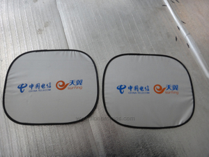 Telecom Logo Printed Summer Promotional Coated Fabric Side Window Sun Shade